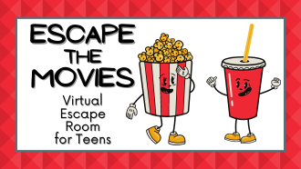Escape the Movie - virtual escape room for teens. Picture of popcorn and a drink.